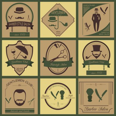 Set of vintage barber, hairstyle and gentlemen club logos. Vecto