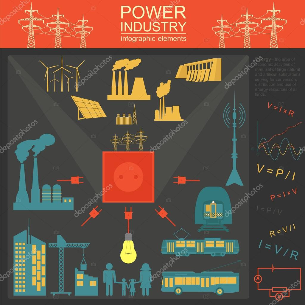 Power energy industry infographic, electric systems, set elements ...