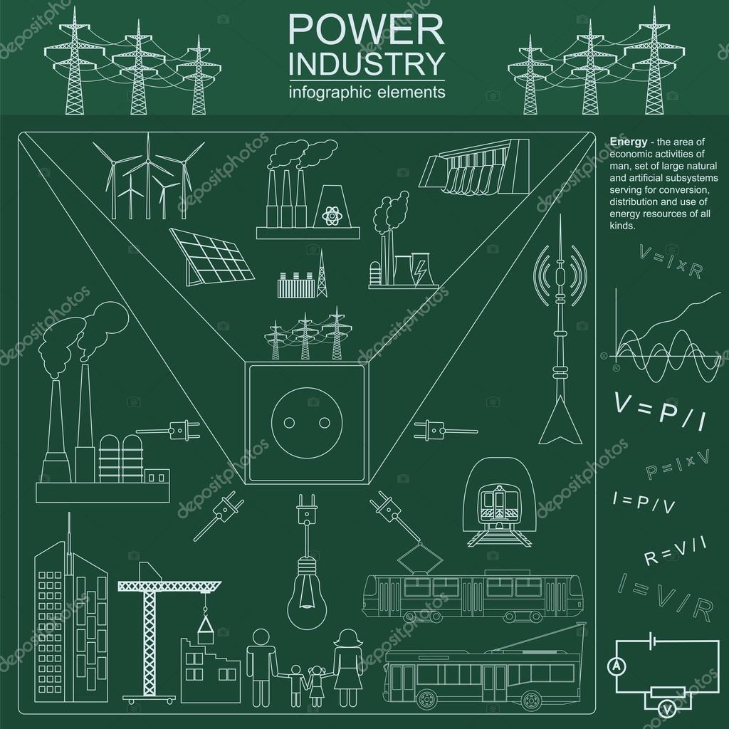 Macht Energie Industrie Infographik, elektrische Systeme, legen Sie ...