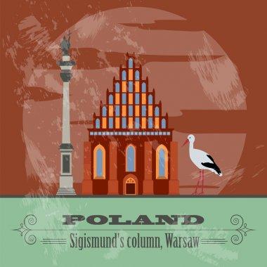 Poland landmarks. Retro styled image
