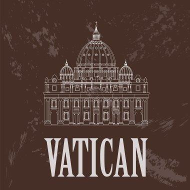 Vatican landmarks. Retro styled image