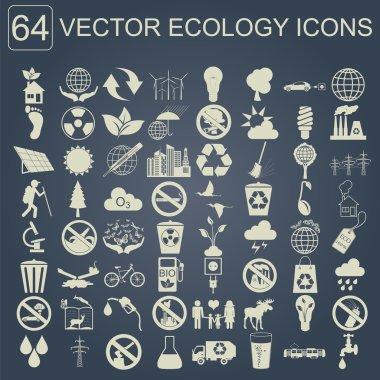 Environment, ecology icon set. Environmental risks, ecosystem