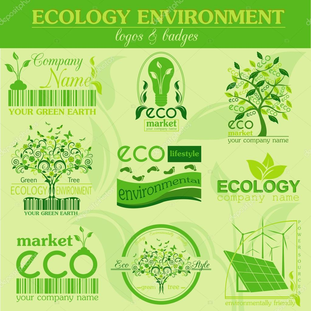 Set of ecology, environment and recycling logos. Vector logo tem