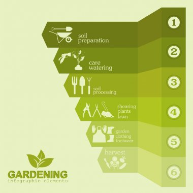 Garden work infographic elements. Working tools set.