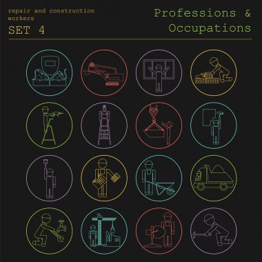 Professions and occupations outline icon set. Repair and constru