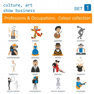 Professions and occupations outline icon set. Culture, art, show