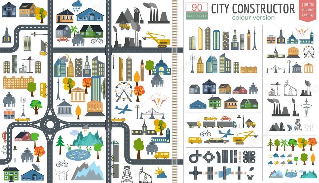 City-Map-Generator. Stadt Karte Beispiel. Elemente für ... on