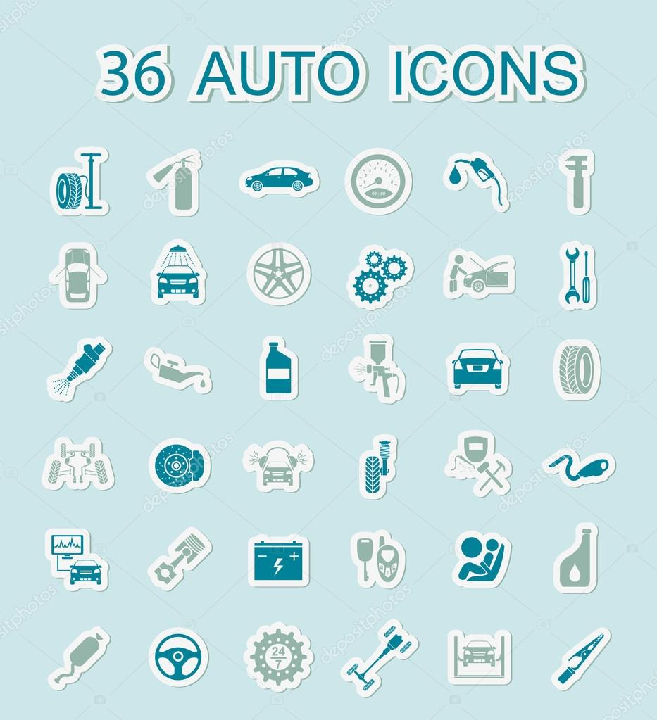 Set Of Car Service Icons Stickers Style Stock Vector C A7880s