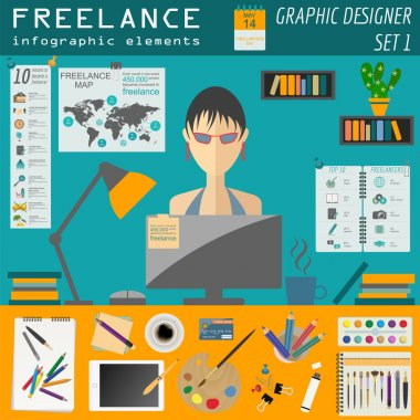 Freelance infographic template. Set elements for creating you ow