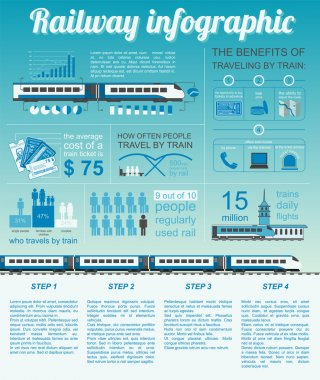 Railway infographic. Set elements for creating your own infograp