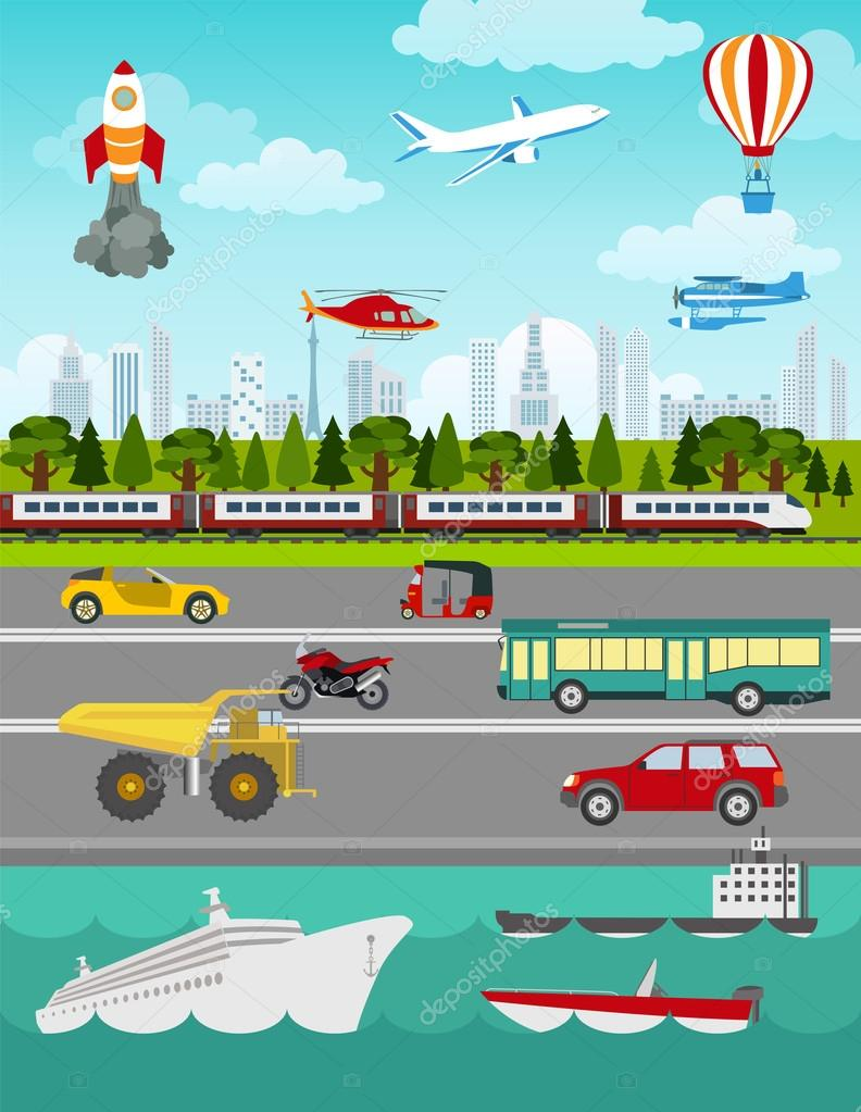 Transport infographics elements. Cars, trucks, public, air, wate