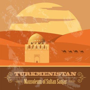 Turkmenistan landmarks. Retro styled image.