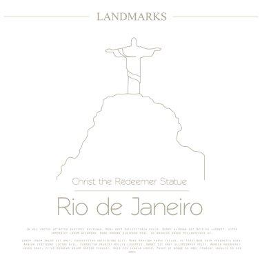 World landmarks. Rio de Janeiro. Brazil. Christ the Redeemer Statue. Graphic template. Logos and badges. Linear design. Vector illustration clip art vector