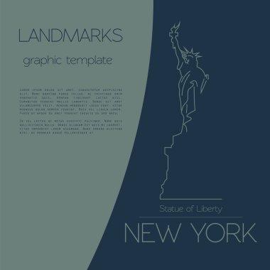 World landmarks. New York. USA. Statue of Liberty. Graphic templ