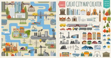 Great city map creator.Seamless pattern map
