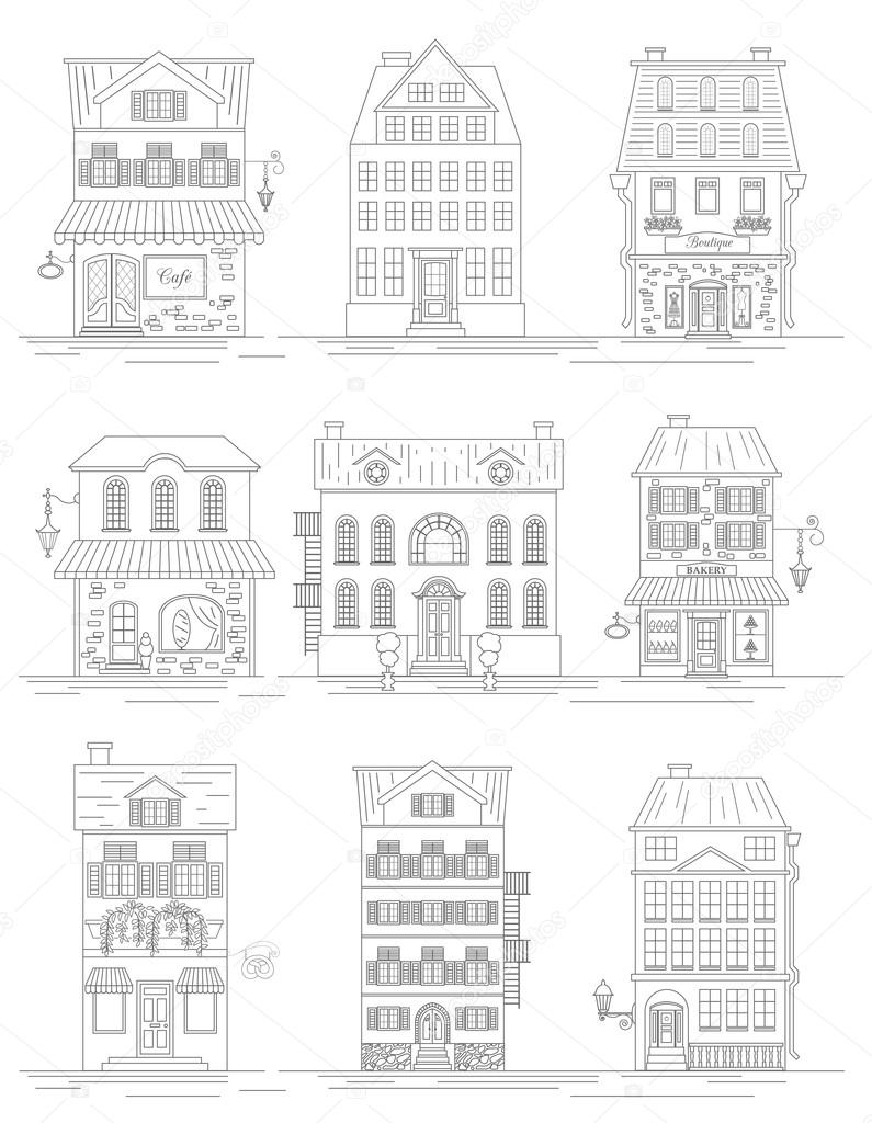 great city map creator outline version house constructor hous stock vector - House Map Creator