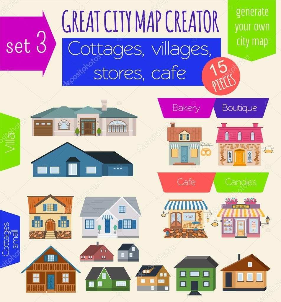 Great City Map Creator. House Constructor. House, Cafe, Restaura U2014 Stock  Vector