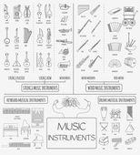 Hudební nástroje grafické šablony. Všechny typy hudebních instr