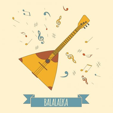 Musical instruments graphic template. Balalaika.