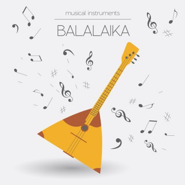 Musical instruments graphic template. Balalaika.