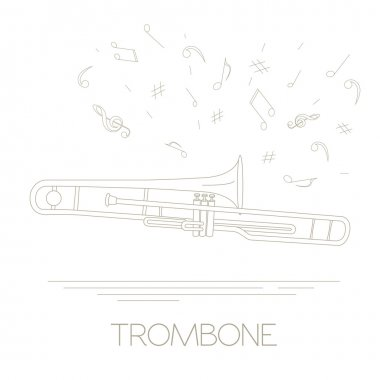 Musical instruments graphic template. Trombone