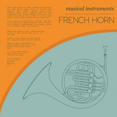 Musical instruments graphic template. French horn.