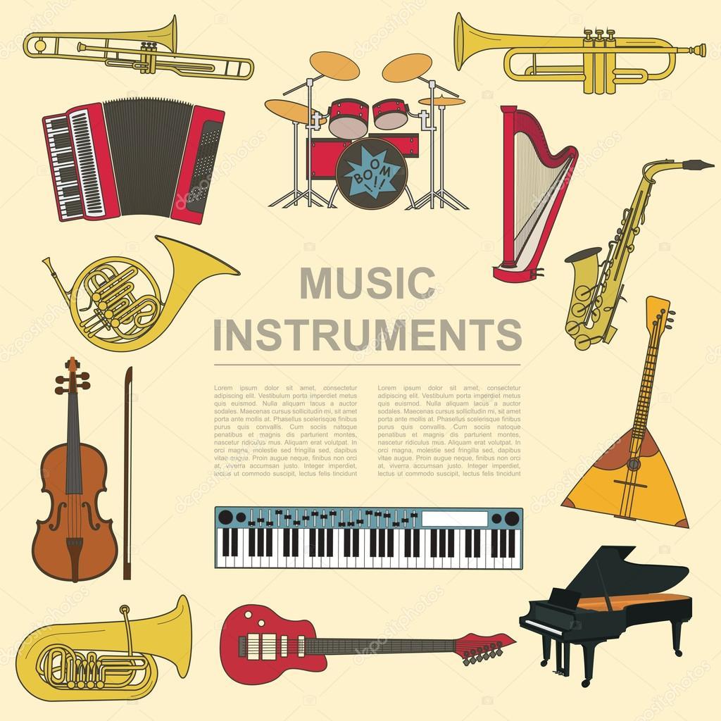 Chłodny Instrumenty muzyczne szablon graficzny. Wszystkie rodzaje muzyczne DP82