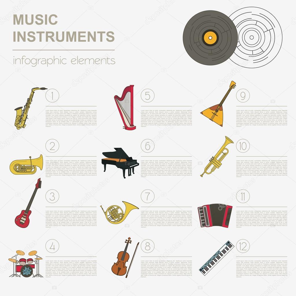 Ogromny Instrumenty muzyczne szablon graficzny. Wszystkie rodzaje muzyczne QI66