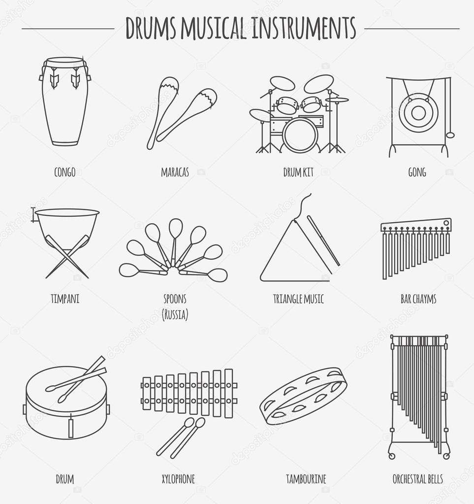 Musikinstrumente Comic Vorlage Schlagzeug Stockvektor A7880s