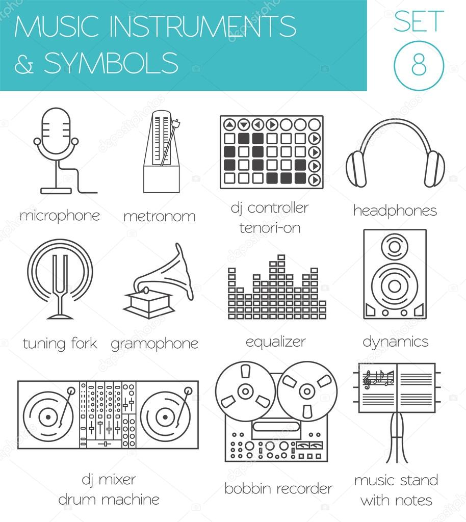 Musikalische Instrumente & Symbole Grafik Vorlage — Stockvektor ...
