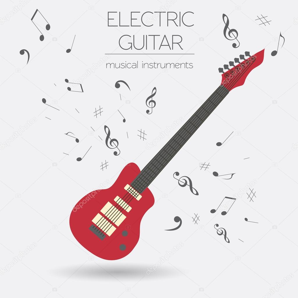 Musikinstrumente-Comic-Vorlage. E-Gitarre — Stockvektor © A7880S ...