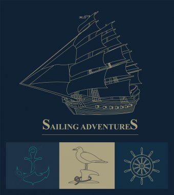 Set of sailing boat and nautical logos.