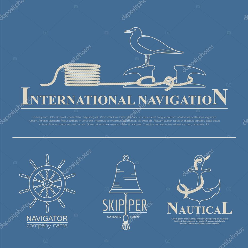 Set of sailing boat and nautical logos.