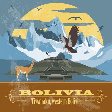 Bolivia landmarks. Retro styled image