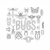 Fotografia Stile piano icona di insetti. 24 pezzi nel set. Versione del profilo