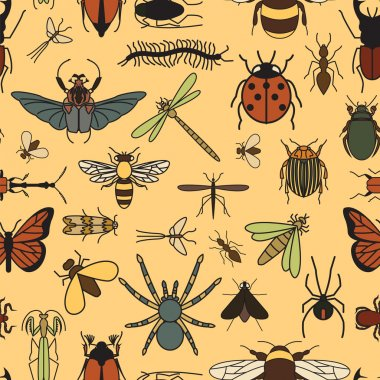 Insects seamless pattern. 24 pieces in set.