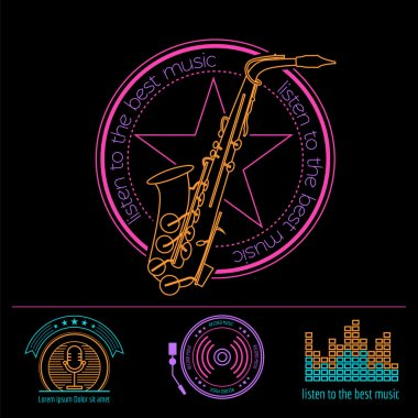 Musical instruments logos and badges. Graphic template. Vector illustration clip art vector