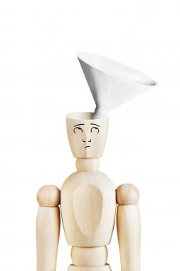 Man with a funnel in the empty head