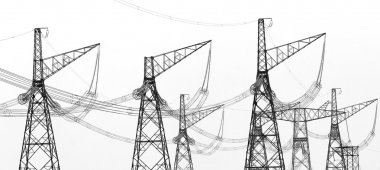 Contours of high voltage electric towers with wires