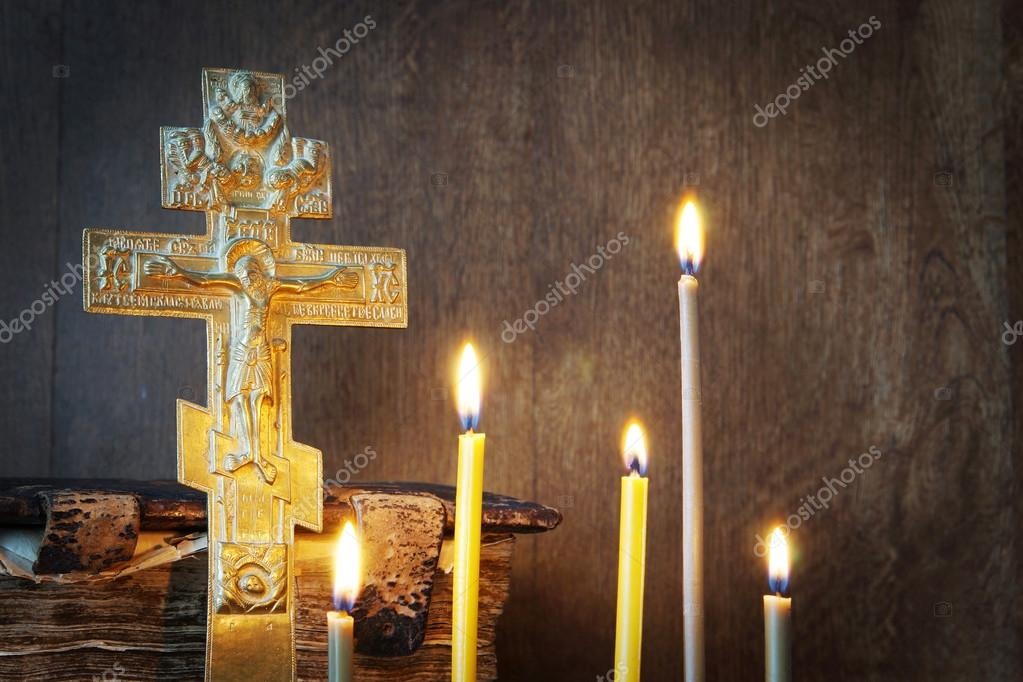 Orthodox Christian Still Life With Old Metal Cross And Burning
