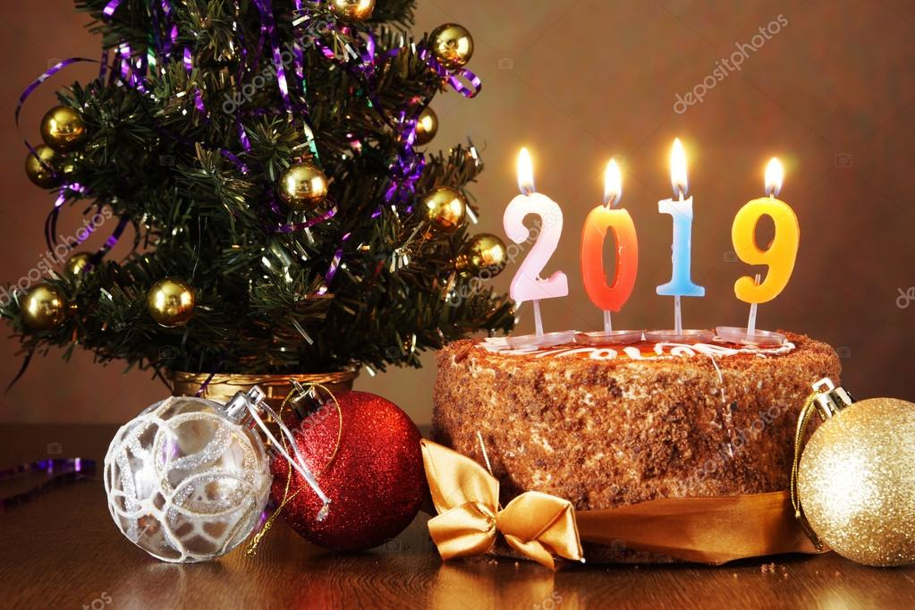 New Year 2019 Still Life Chocolate Cake And Artificial Fir Tree