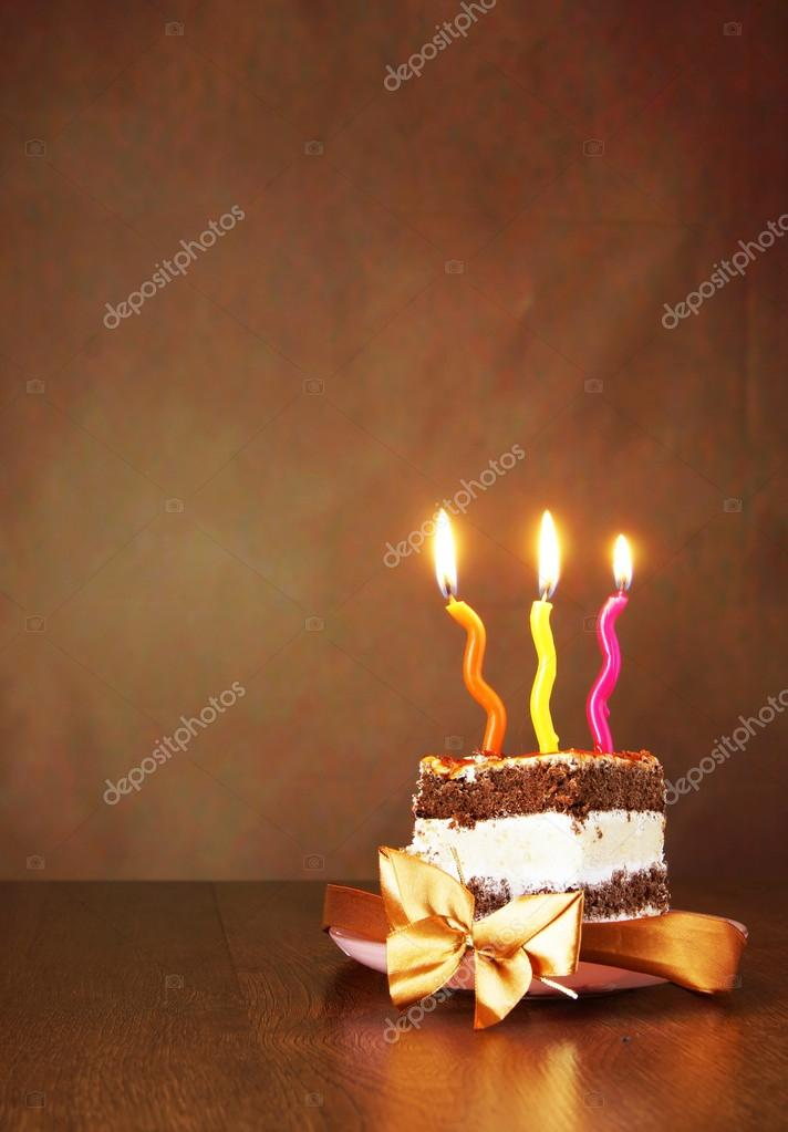 Piece Of Birthday Chocolate Cake With Three Burning Candles Agai