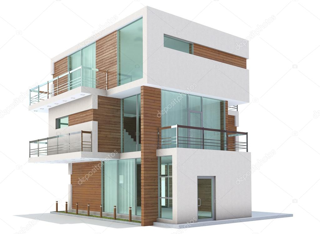 3d Rendering Of A Home Exterior Isolated On White Background