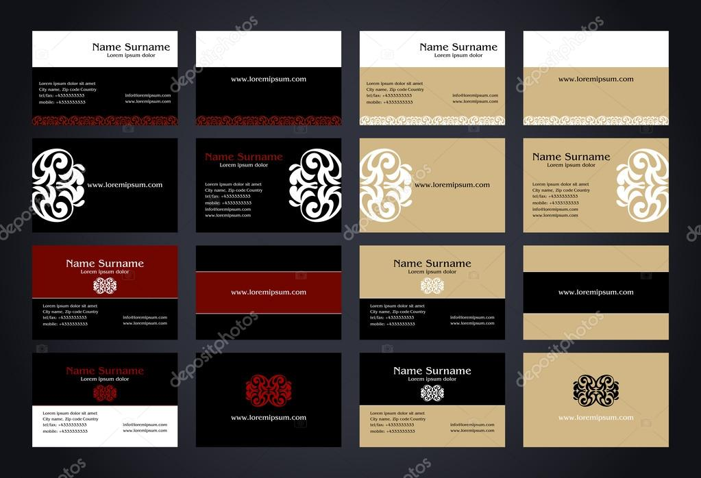 Business cards creative design with logo vintage style set elegant business cards creative design with logo vintage style set elegant print front and back samples black white red and beige colors luxury classic reheart Images