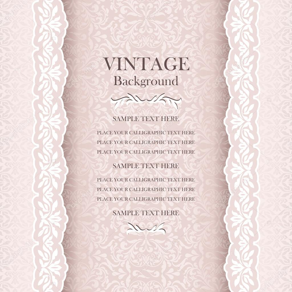 Vintage Wedding Background Elegance Antique Victorian Floral Ornamental Greeting Card Stock Vector