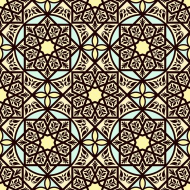 Vintage arabic and islamic background, ethnic style ornaments, geometric ornamental seamless pattern
