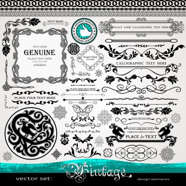 Vintage design elements, ornaments and dividers and elegant page background decorations