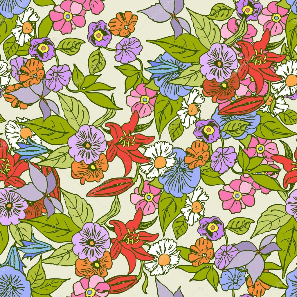 Vintage style floral seamless pattern, vector background with