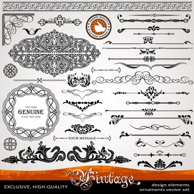 Vintage ornaments and dividers, calligraphic design elements