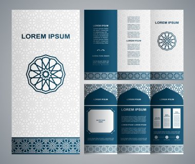 Vintage islamic style brochure and flyer design template with logo, creative art elements and ornament
